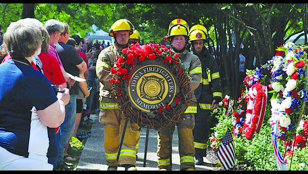 The 25th annual Memorial Service was held June 9 at the Iowa Firefighters Memorial site at Coralville. Photo by Terri Runge.